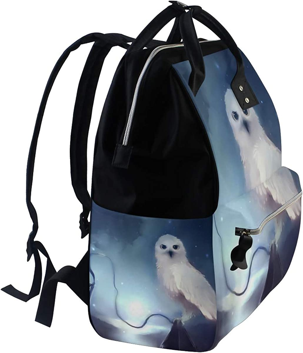 imobaby Cute White Owl At Night Painting Changing Bags Large Capacity Handbags Canvas Shoulder Bag Backpack