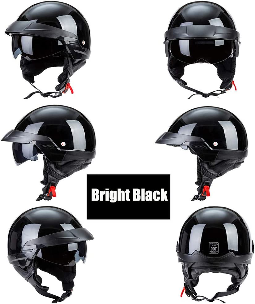 Open Face Helmet with A Detachable Warm Neck Bib DOT Approved Bright Black 55-62Cm QZFH Harley Vintage Motorcycle Motorbike Half Helmet
