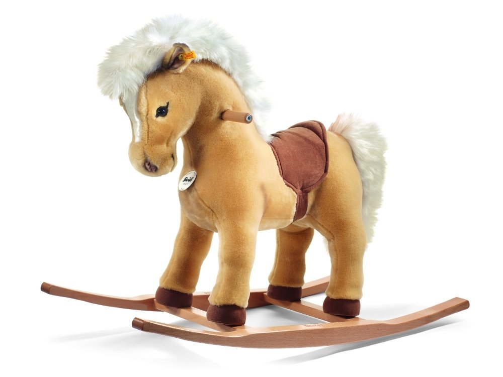 Steiff Franzi Riding Pony Stuffed Rocking Horse - Premium Quality Soft Woven Plush Ride-On Animal with Wooden Base and Handles - for Kids Ages 4 and Up