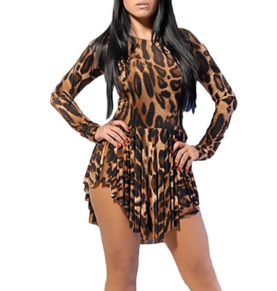 Mujer Vestidos De Fiesta Cortos Elegantes Vintage Hippie Leopardo Moda Manga Larga Cuello Redondo Slim Fit