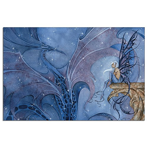 Tree-Free Greetings EcoNotes 12-Count Dragon Dream Dragon and Fairy Blank Notecard Set with Envelopes, Featuring Amy Brown Fairies (FS64546)