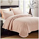 Hedaya Home Fashions Embossed Medallion Quilt Set, Chic Stonewashed Solid with Abstract Laurel Texture, 3-Piece Set with Quilt and Pillow Shams - King, Blush Pink