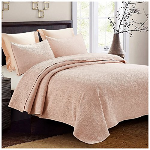 Blush Medallion (Hedaya Home Fashions Embossed Medallion Quilt Set, Chic Stonewashed Solid with Abstract Laurel Texture, 3-Piece Set with Quilt and Pillow Shams - King, Blush Pink)