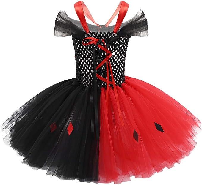 IEFIEL Disfraz Niña Halloween Vestido de Princesa Vampiro Falda de ...