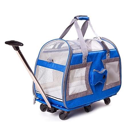 LWZ-Mascotas Portable Large Dog Stroller Pet Travel Carrito Pet Carrier Azul 58cmx25cmx35cm