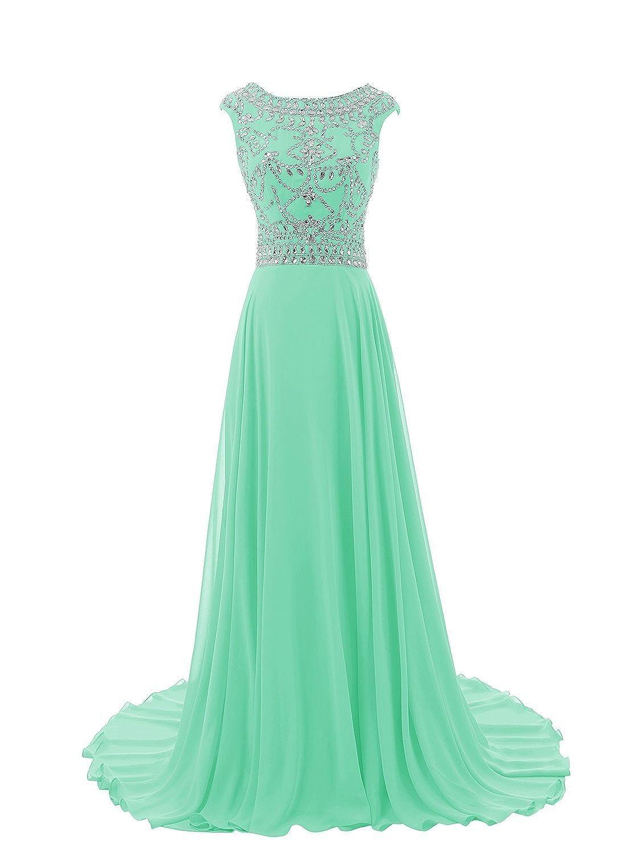 Beyonddress? Women's Cap Straps Crystals and Sequins Embellished Bodice V Back Floor Length Prom Dress Evening Gown