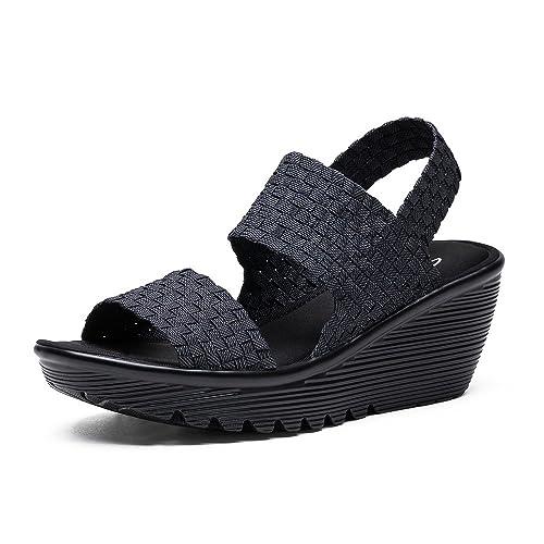 38461 Gris Cuña Foam Skechers Sandalia Mujer Elasticos dChrxQotsB