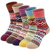 Ordenado 5 Pairs Socks Womens Vintage Style Winter Thick Knitting Warm Wool Crew 5 Pairs-a ...