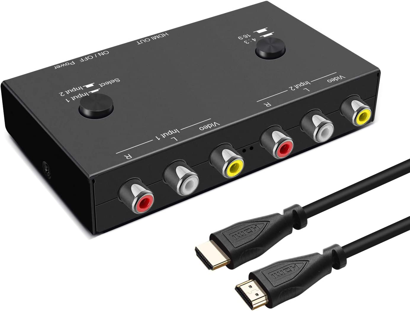 2 RCA to HDMI, 1080P 2 Way RCA Composite CVBS AV Switch to HDMI Video Audio Converter Adapter Supporting 4:3/16:9, for PC Laptop Xbox PS2 PS3 N64 NGC SNES WII VHS VCR Camera DVD