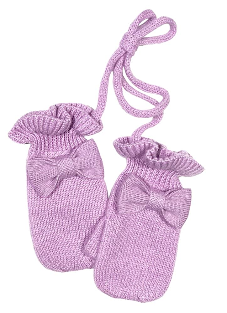 Girls Cashmere ruffle mittens with bow detail