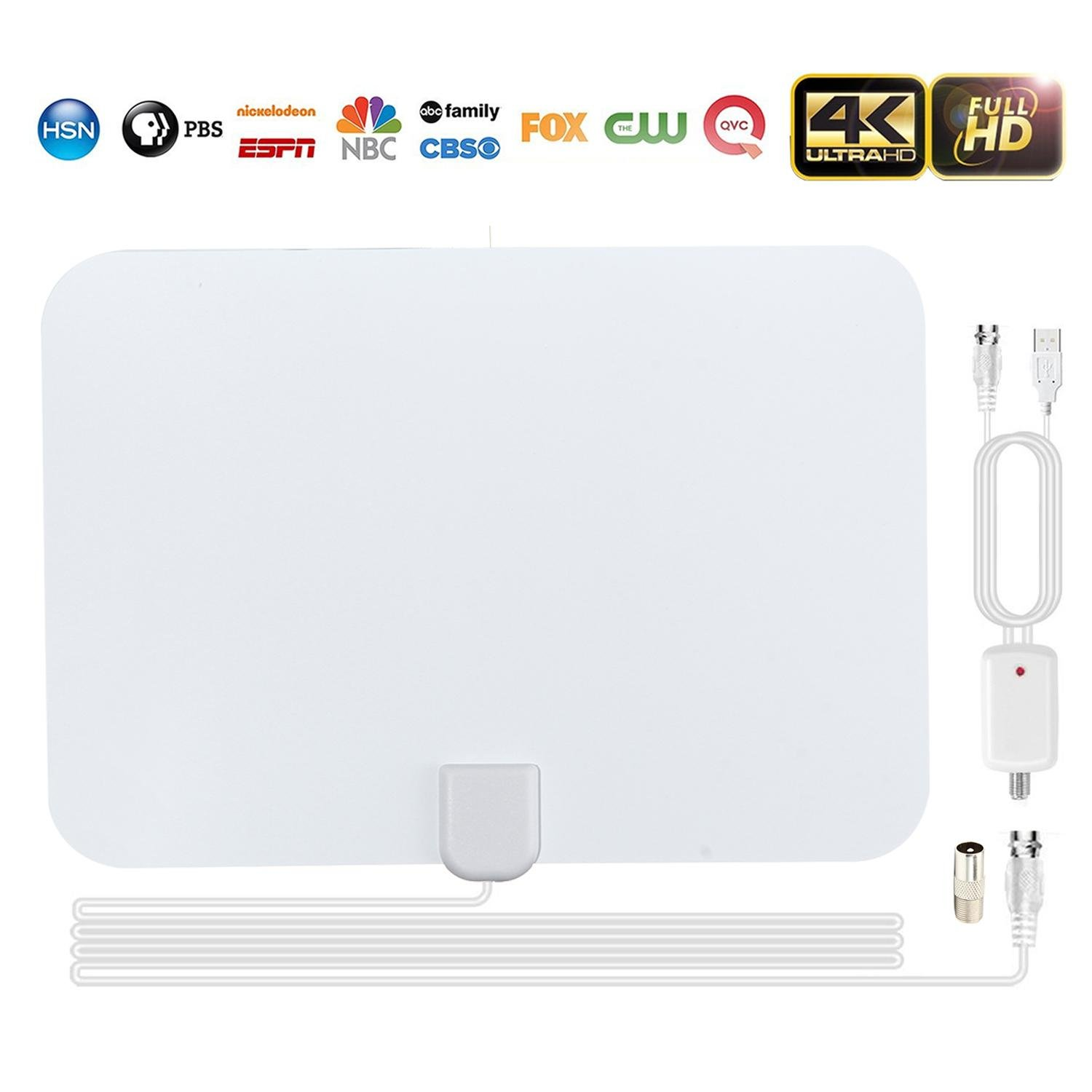 HD Digital TV Antenna, Leegoal Amplified 80 Miles Long Range Reception Free 1080P 4K HDTV Indoor Antennas with Detachable Amplifier Signal Booster and 13.2Ft Coax Cable 8025779154152