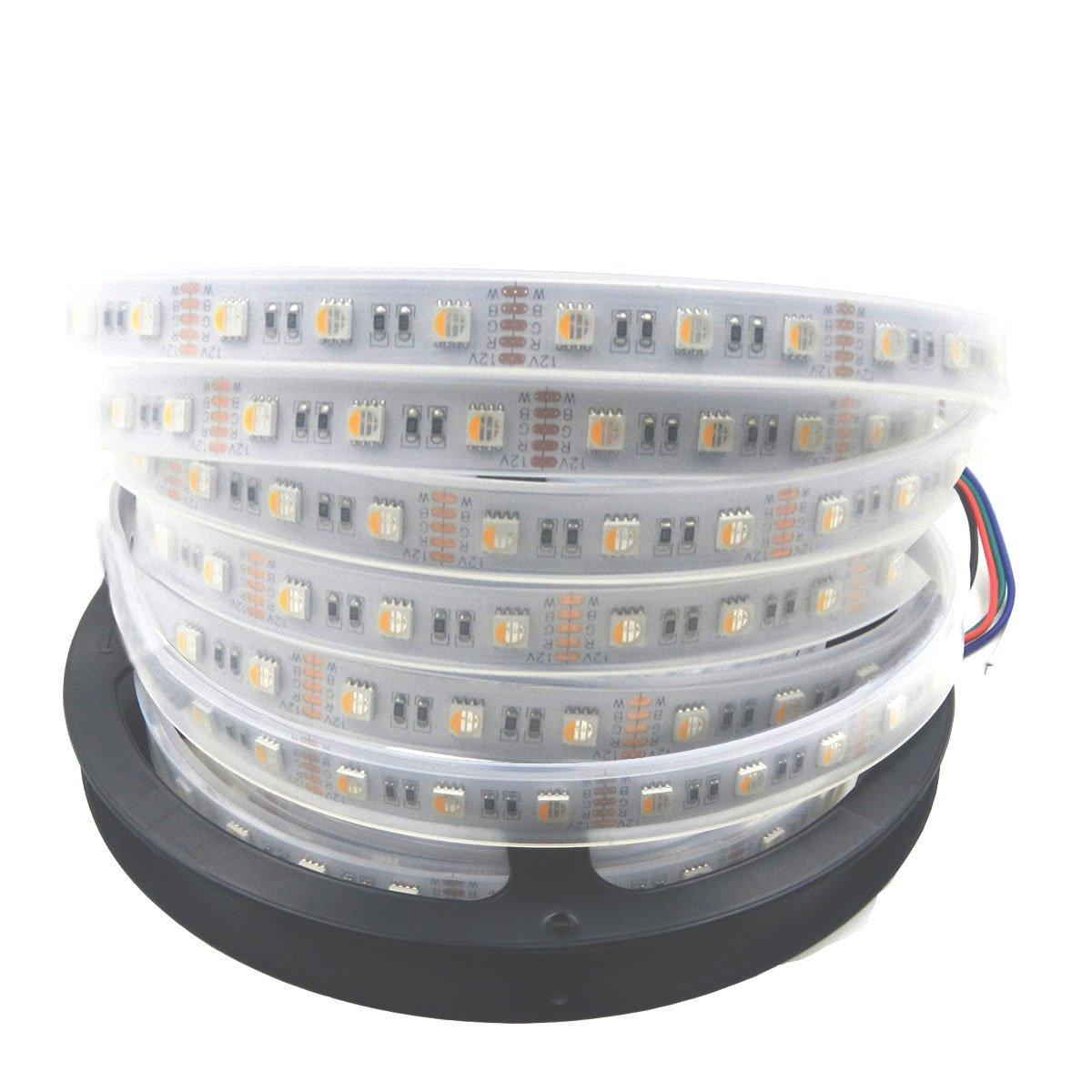 Visdoll 5050 Rgbww 4 in 1 Led Strip Light DC12V, 16.4Ft 300Leds RGB+ Warm White 4 Colors in 1 Led Dimmable Flexible Tape Light