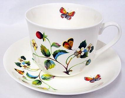 Diseño de fresas y mariposas para desayuno taza y plato de porcelana de ceniza de hueso