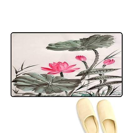 Amazoncom Door Mats For Inside Watercolor Painting Of Lotus Flower