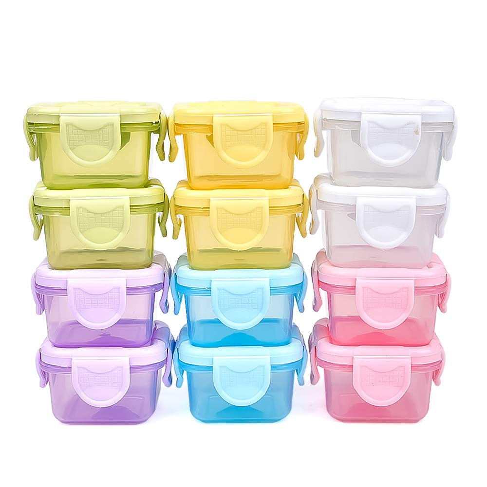 LeakProof Baby Food Storage Containers,12 Container Set for Baby Food, 2 oz Reusable Baby Snack Jars with Lid, BPA-Free Airtight Plastic Baby Food Set, Freezer/Microwave/Dishwasher