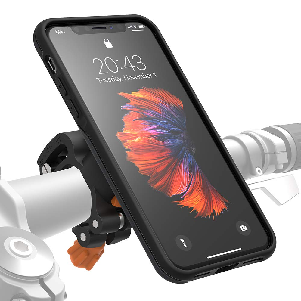 MORPHEUS LABS M4s iPhone XR Bike Mount for iPhone XR, Phone Holder & iPhone XR Case, Bicycle Cell Phone Holder, Adjustable, fits Most Handlebars, 360 Rotation Stand, Bike Kit for iPhone XR [Orange]