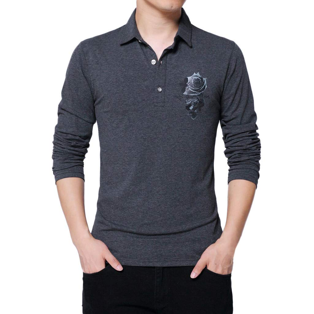 GREFER Men's Polo Shirt Fashion Printing Long Sleeved Lapel Plus Size Tee Tops Blouse Dark Gray by GREFER