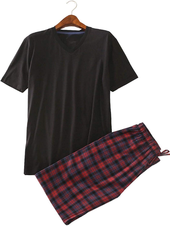Big Boys Pajamas,Loose Plaid Pajama Pant and Short Sleeve Tee Loungewear 12-18