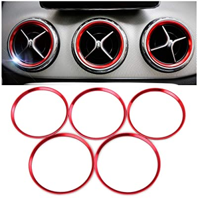 Thie2e 5pc Sports Aluminum Air Conditioner Air Vent/Outlet Ring Decoration Cover Fit for Mercedes Benz CLA C117 CLA180 CLA200 CLA250 X156 GLA GLA200 GLA220: Automotive