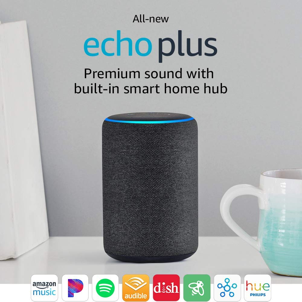 All-new Echo Plus (2nd Gen) - Premium sound with built-in smart home hub - Charcoal