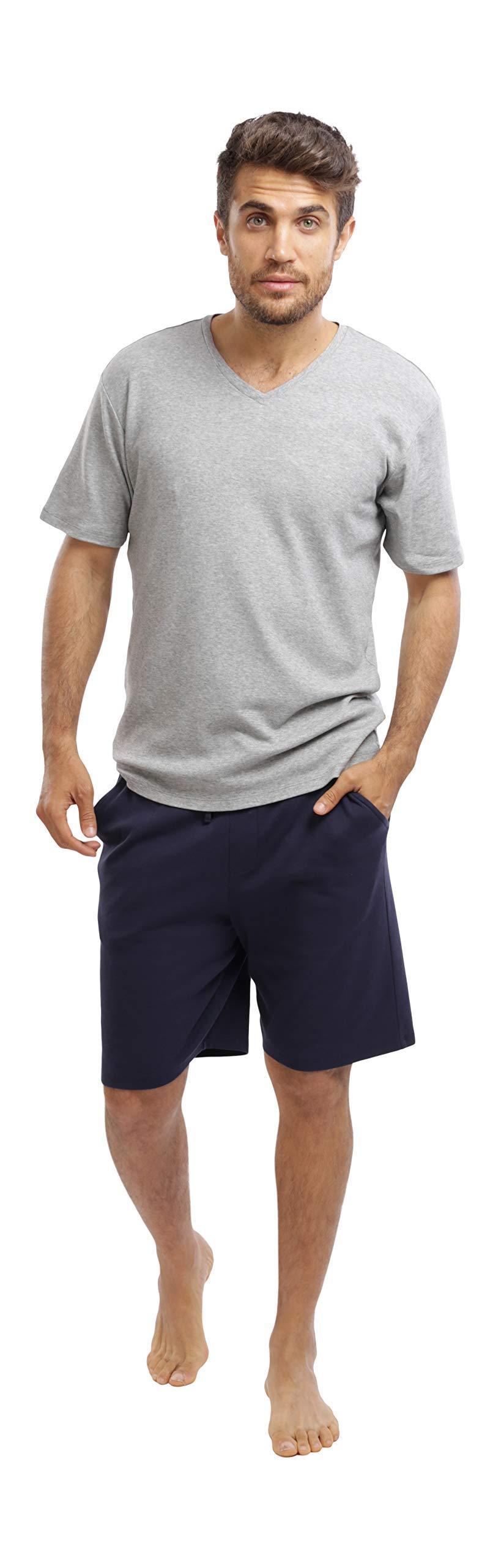 jijamas Incredibly Soft Pima Cotton Men's Pajamas Set - The Weekender Shorts in Navy and Heather Grey by jijamas (Image #5)