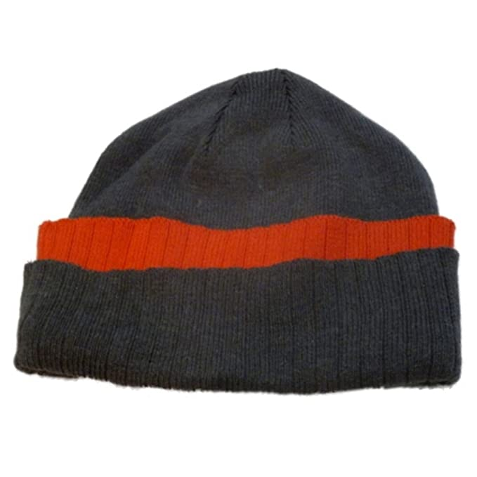 Athletic Works Mens Cuffed Gray   Orange Knit Beanie Winter Hat ... 270f55c6257