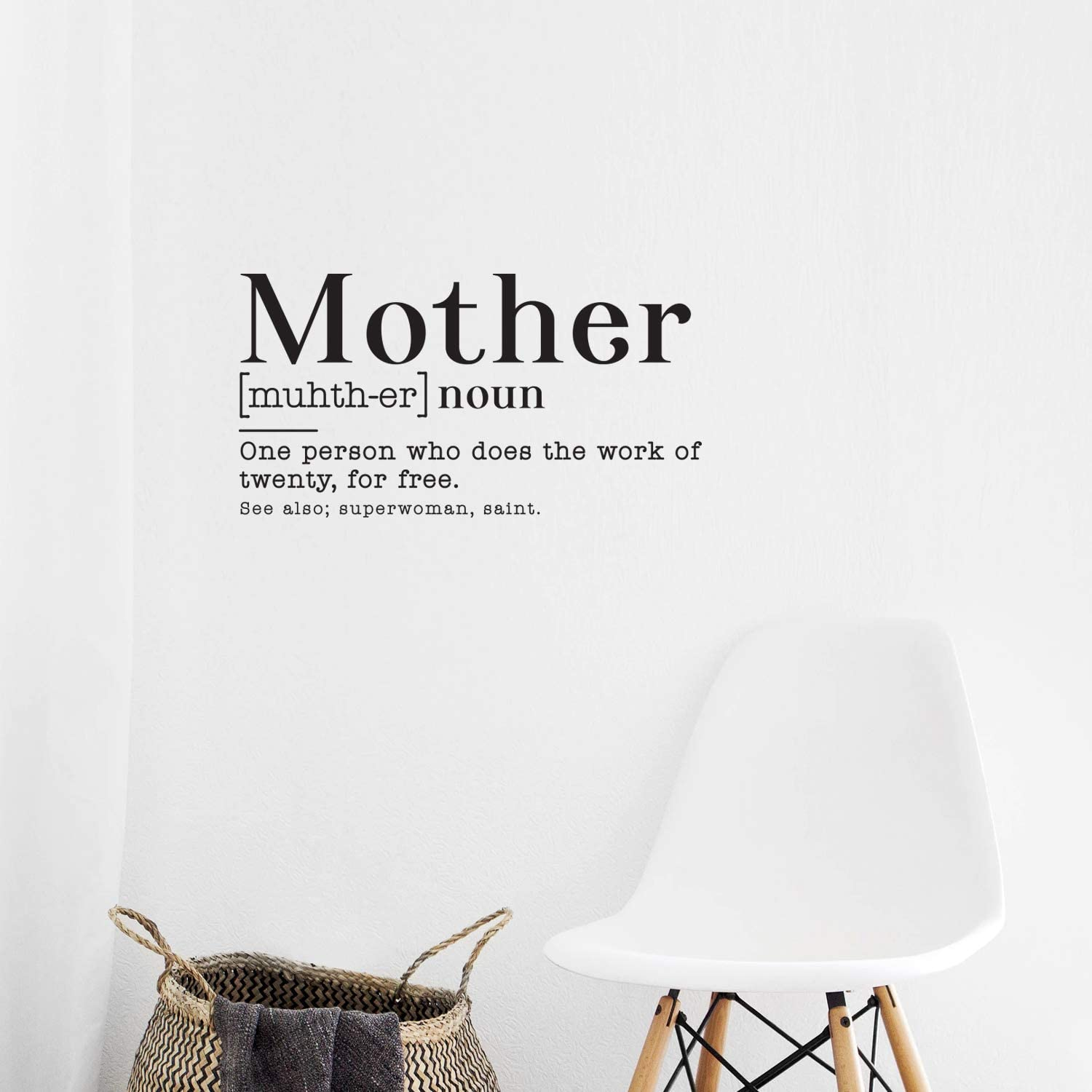 """Vinyl Wall Art Decal - Mother Noun One Person Who Does The Work of Twenty for Free - 22"""" x 30"""" - Funny Witty Mother's Day Home Bedroom Living Room Kitchen Decoration Quote"""