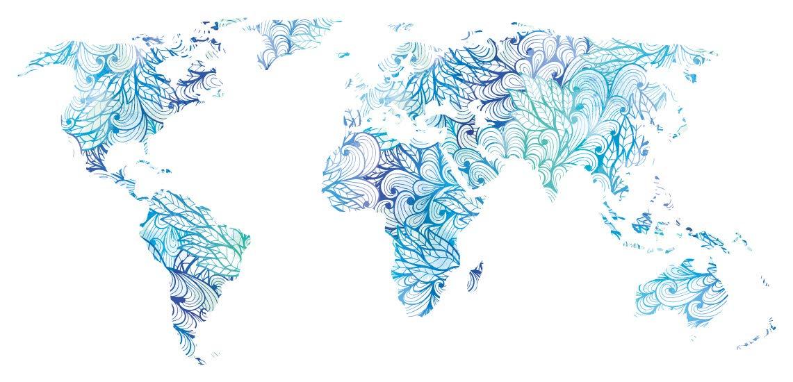 Pegatina de pared Salón Mapa del mundo en azul y verde con un ...