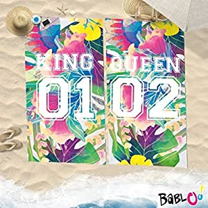 Babloo Coppia di Teli Mare Love You And Me Personalizzati con Numeri King And Queen -100x180- 6 spesavip