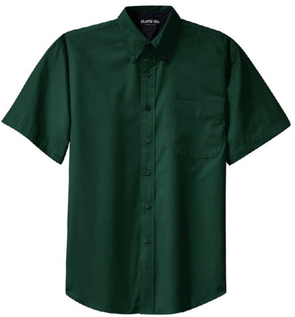 Clothe Co. Mens Short Sleeve Wrinkle Resistant Easy Care Button Up Shirt, Dark Green/Navy, XL by Clothe Co.