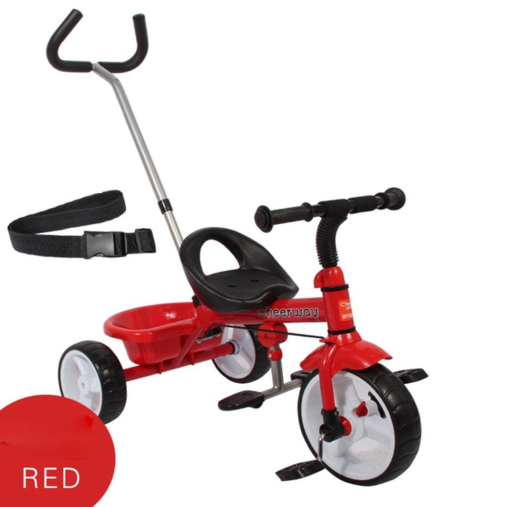 HAIZHEN マウンテンバイク 子供のトロリーカーボンスチールフレームフロントホイールクラッチプッシュロッドコントロール方向2-5歳の自転車トイカー75 * 48 * 110cm 新生児 (色 : 赤)  赤 B07DL6XXTW
