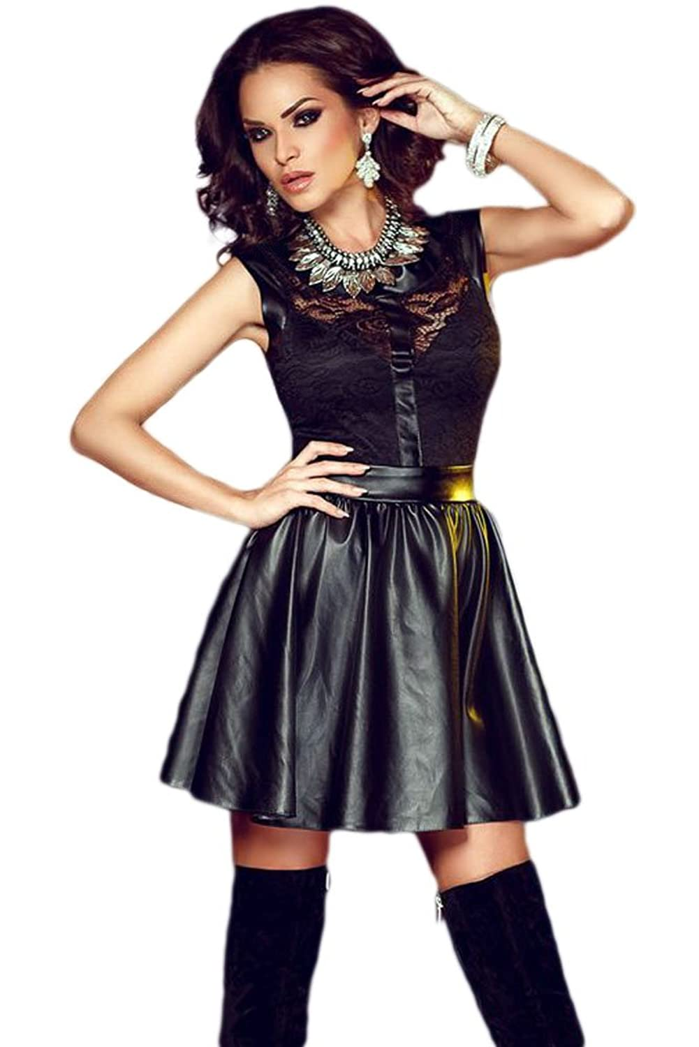 Young Queen Black Lace Splice Sleeveless Leather Skater Dress