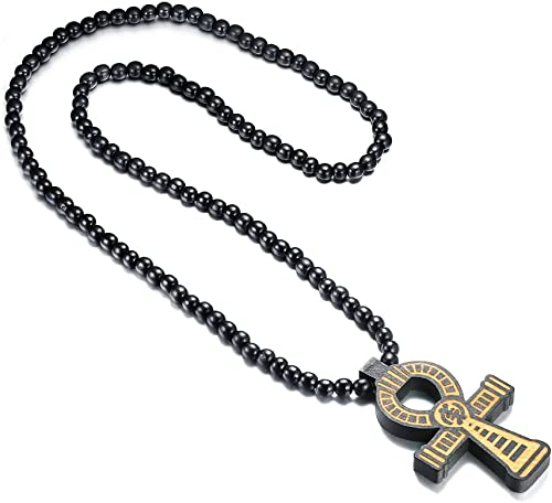 Wooden Prayer Rosary Bead Cross Pendant Necklace Mn Women Black