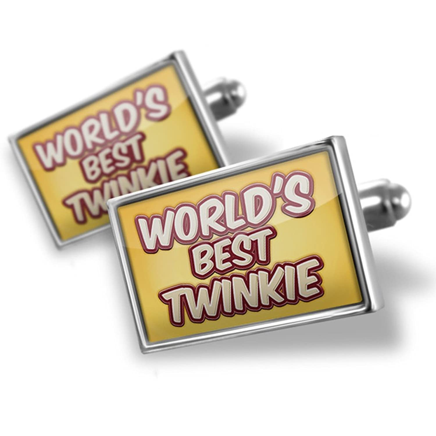 Cufflinks Worlds best Twinkie, happy yellow - Neonblond