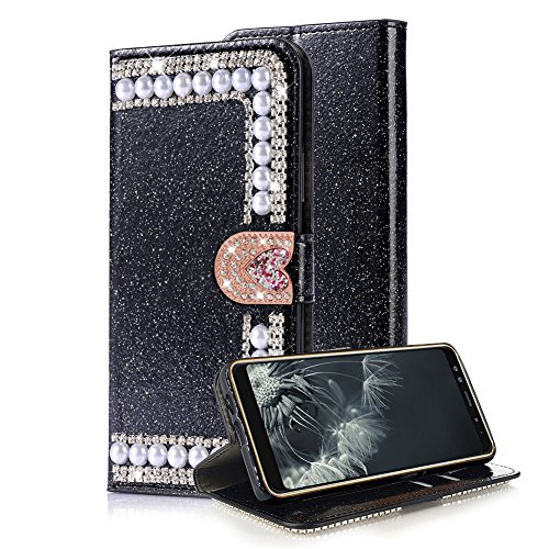 Aearl Samsung Galaxy S8 Plus Diamond Wallet Case Women Samsung Galaxy S8 Plus Shiny Black Cover,Luxury Fashion Glitter Sparkle Bling Crystal Love Heart Buckle Closure Card Holder Leather Case