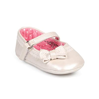 Aadi DB73 Girl Leatherette Sequin Hook and Loop Mary Jane Bow Flat (Infant/Toddler) - Ivory