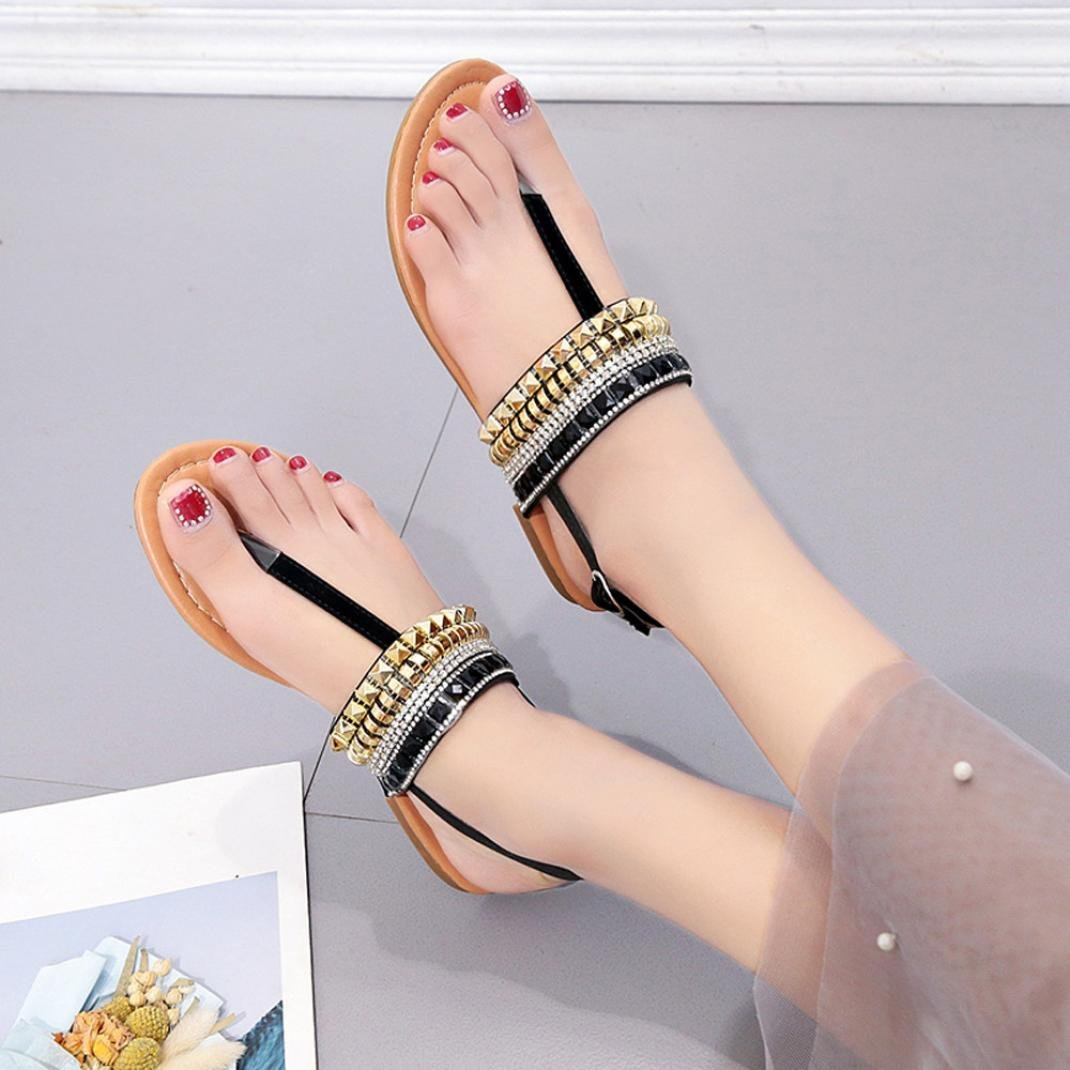 Womens Gladiator Sandals Roman Flats,Sunfei Flat Casual Bohemian Diamond Thong Sandal