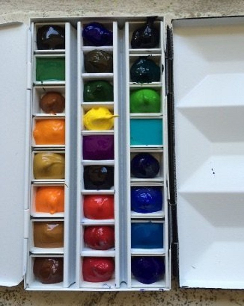Whiskey Painters Artist Large, Empty 24 Half Pan, Travel Friendly Artist Palette with Clip-On Cups, Fits Half & Full Pans by Whiskey Painters (Image #3)