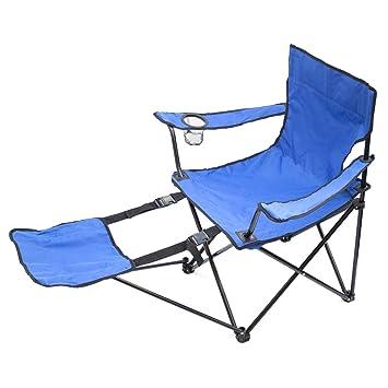 Angelstuhl Klappstuhl Angelhocker Stuhl Campingstuhl blau mit Getränkehalter