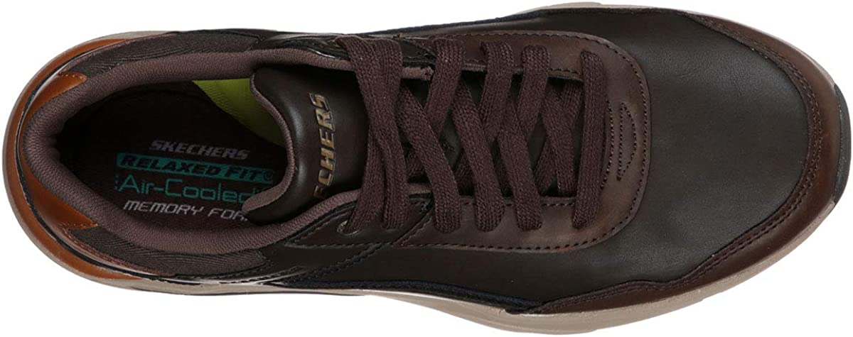 Skechers Sneakers Uomo Eco Pelle DKBR Marrone Scuro