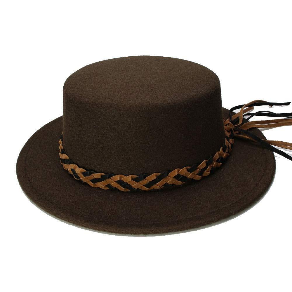 In the Dream Warme Mütze im Freien Retro Kid Vintage 100% Wolle Breiter Krempe Kappe Pork Pie Porkpie Bowler Hats Braid Lederband