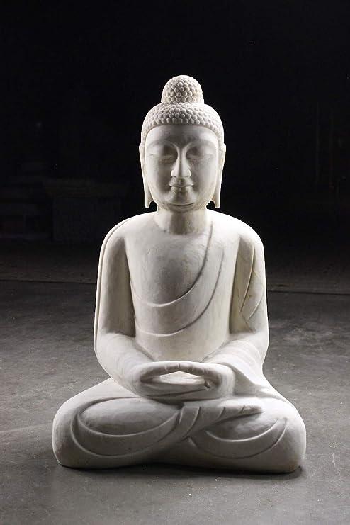 Asien Lifestyle Jardín Buda Figura Piedra de Mármol 82cm Amitabha Meditación Figura: Amazon.es: Hogar