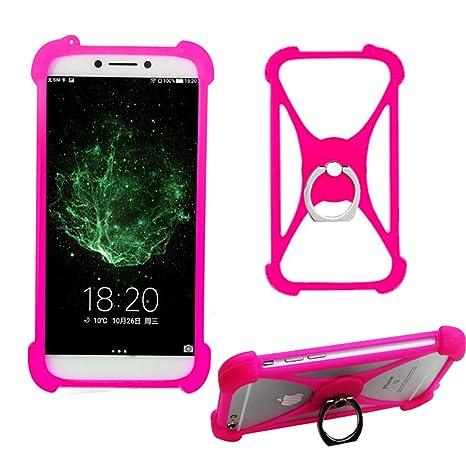Rosa Anillo Funda Case para BQ Aquaris C X5 Plus X2 X Pro VS U Lite Silicona Protectora Cover Protección Bumper Carcasa Elástica Suave con Dedo Agarre ...