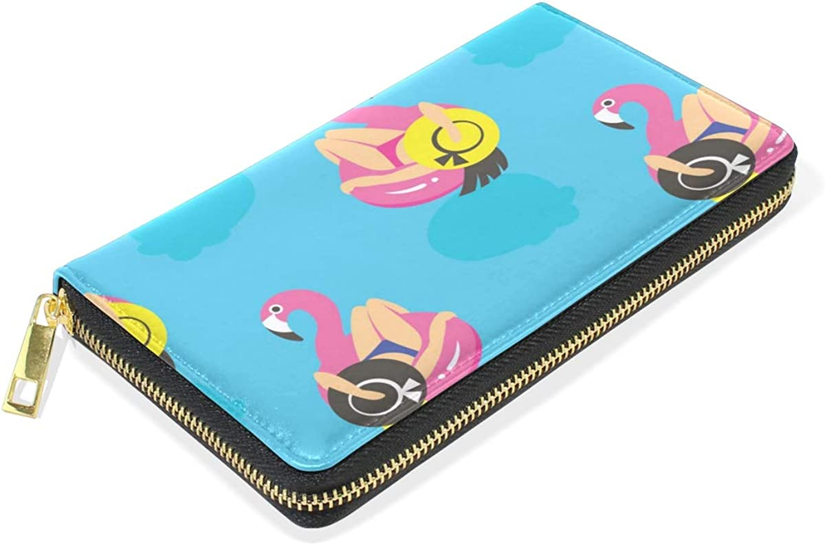 GIOVANIOR Pink Flamingos Swim Ring And Women Womens Clutch Purses Organizer And Handbags Zip Around Wallet