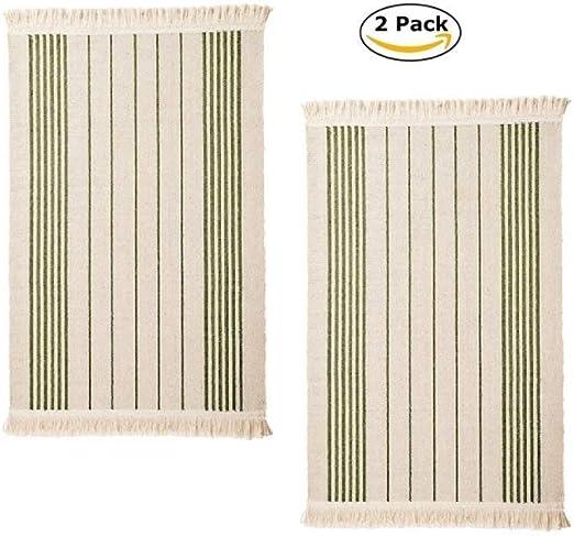 IKEA Alfombra de algodón con rayas de color, lavable a máquina para cocina, alfombra de puerta corredera (2 rayas verdes): Amazon.es: Juguetes y juegos