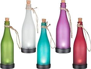 YINGMAN LED Solar Powered Bottle Light Hanging Patio Lamp Flame Effect Garden Yard Hanging Lamp (Set of 5)