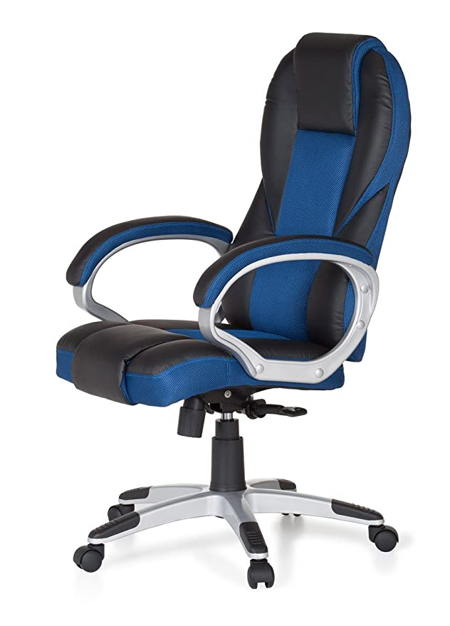 AMSTYLE – Silla Race Azul Gaming Racer de Oficina giratoria 120 kg Mecanismo de sincronización Escritorio Silla