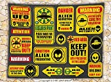 Outer Space Decor Fleece Throw Blanket Warning Ufo Signs with Alien Faces Heads Galactic Paranormal Activity Design Throw Yellow