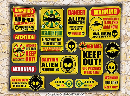 Outer Space Decor Fleece Throw Blanket Warning Ufo Signs with Alien Faces Heads Galactic Paranormal Activity Design Throw Yellow by iPrint