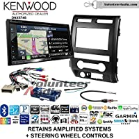 Volunteer Audio Kenwood DNX574S Double Din Radio Install Kit with GPS Navigation Apple CarPlay Android Auto Fits 2009-2010 Ford F-150 (Black) (Retains steering wheel controls)